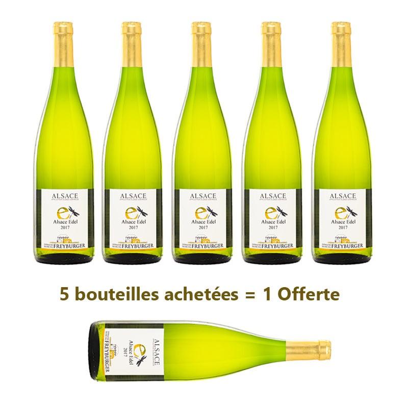 Colis Edel Alsace 5 bouteilles Edel Alsace achetées, un bouteille d'Edel Alsace OFFERTE