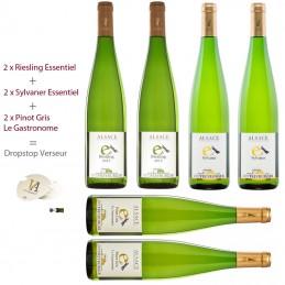 2 Riesling Essentiel + 2 Sylvaner Essentiel + 2 Pinot Gris Le Gastronome